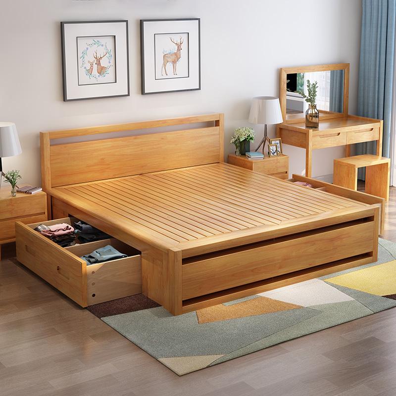 木帆家居(MUFAN-HOME) 床 双人床 实木床 1.8米单人床1.5m婚床 北欧/宜家日式 高